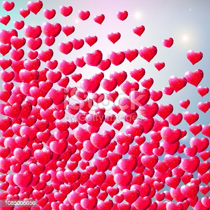 istock Valentines Day background with scattered gem hearts 1085005656
