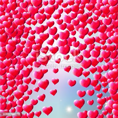 istock Valentines Day background with scattered gem hearts 1088296278