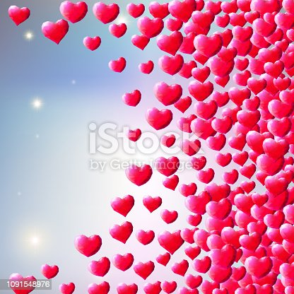 istock Valentines Day background with scattered gem hearts 1091548976