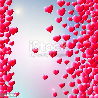 istock Valentines Day background with scattered gem hearts 1095533998