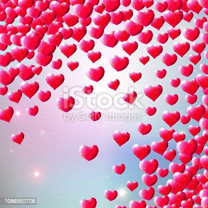 istock Valentines Day background with scattered gem hearts 1096552728