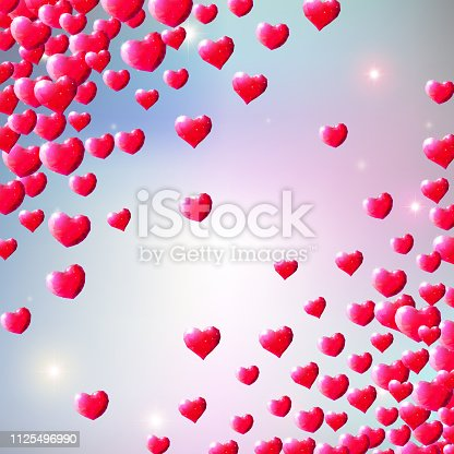istock Valentines Day background with scattered gem hearts 1125496990