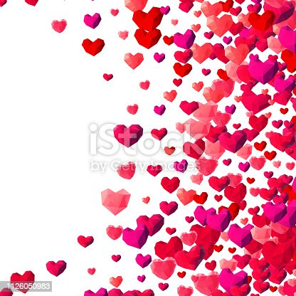 istock Valentines Day background with scattered triangle hearts 1126050983