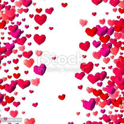 istock Valentines Day background with scattered triangle hearts 1126837840