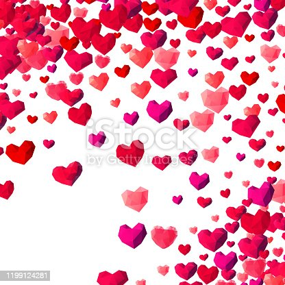 istock Valentines Day background with scattered triangle hearts 1199124281