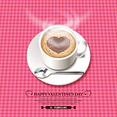 Valentine's Day background[Foam heart on the hot chocolate]