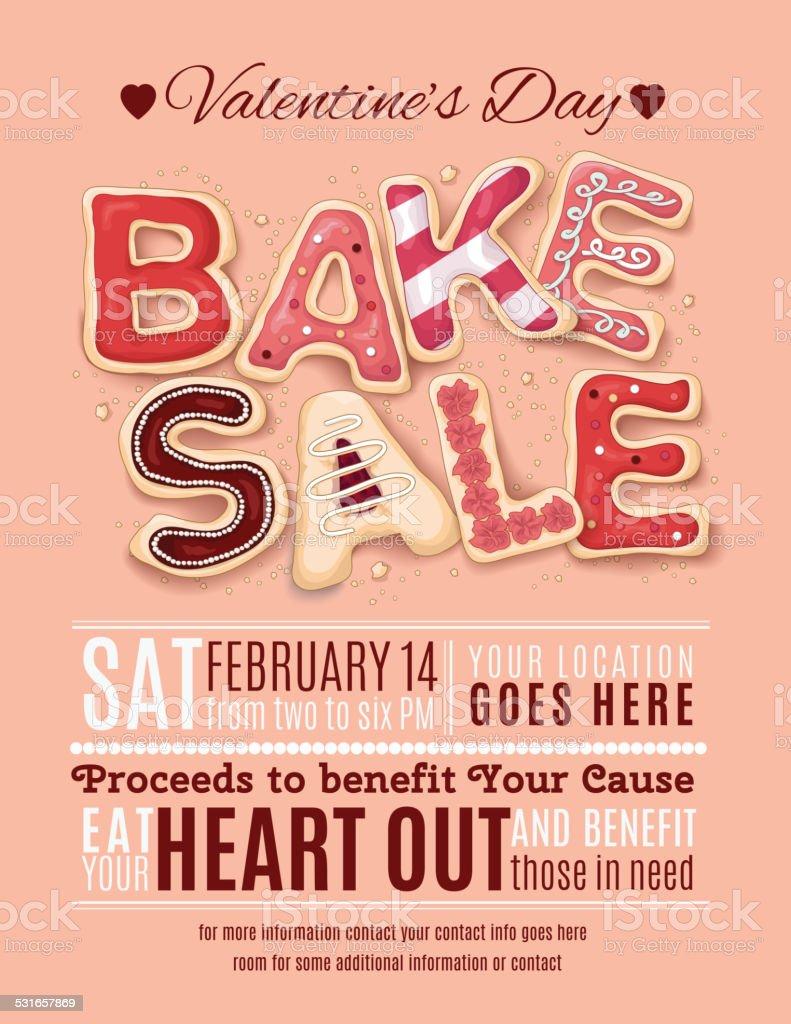 Valentines Day Bake Sale Flyer Template vector art illustration