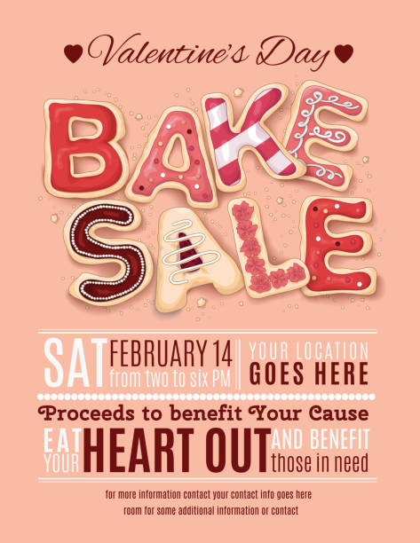valentines day bake sale flyer template - valentine's day holiday stock illustrations