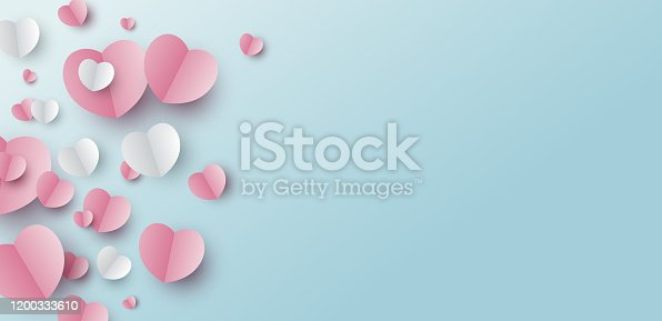 istock Valentines day banner design of paper hearts on blue background with copy space vector illustration 1200333610