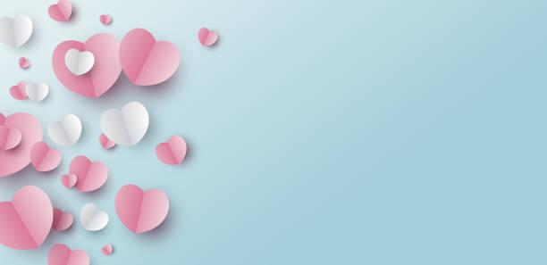 illustrations, cliparts, dessins animés et icônes de conception de bannière de jour de valentines des coeurs de papier sur le fond bleu avec l'illustration de vecteur d'espace de copie - saint valentin