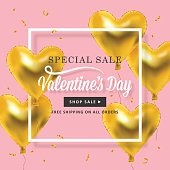 Valentines day banner design with heart shape golden metallic balloons. Social media special sale promotion with square border