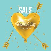 Valentines day banner design with heart shape golden metallic balloons and arrows. Social media special sale promotion.