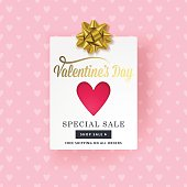 Valentines day banner design with paper card, heart shape and golden bow. Social media special sale promotion.
