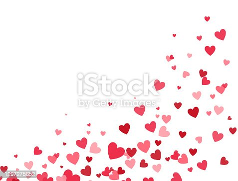 istock Valentines Day banner for greeting cards, wedding invitation, gift packages. Heart flying frame. Celebration backdrop. Bright pink hearts confetti falling on white background. Vector illustration 1297275652