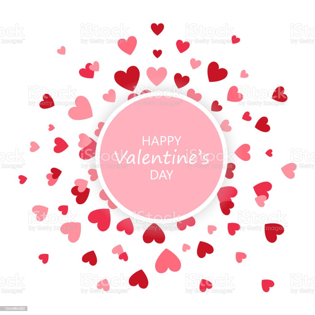 Valentines Day Banner Heart Round Background Love Round Frame Vector