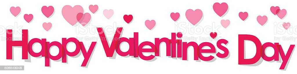 valentines day banner pink letters with hearts on white background