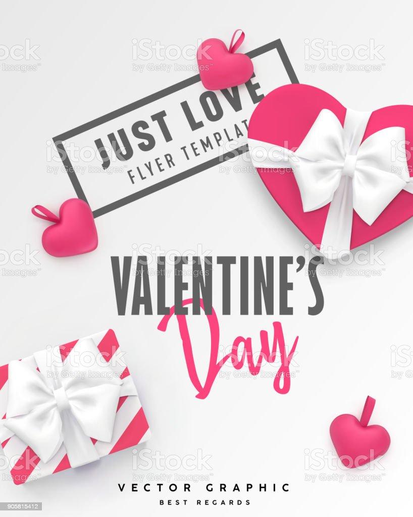 Bandera Del Día De San Valentín Plantilla De Vector Romántica Con ...