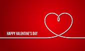 Valentines day banner. Valentines heart line on red background 10 eps