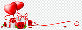Valentines day banner with heart balloons, red roses and gifts