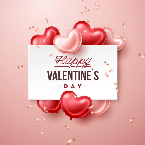 walentynki banner z balonami w kształcie serca - kartka na walentynki stock illustrations