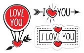 Vector stock illustration of the Valentines Day Banner with Hearts.