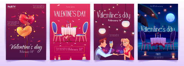 Valentine's day banners set. Invitation for dating Valentine's day banners set. Invitation for romantic dating or party for couples in love for having dinner with champagne, meal and burning candles in intimate atmosphere. Cartoon vector illustration romance stock illustrations