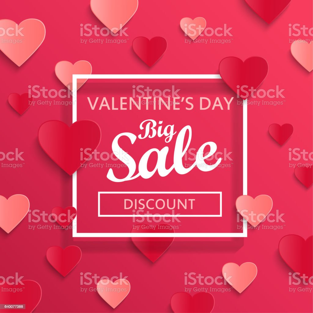 Valentines day big sale background. - Illustration vectorielle