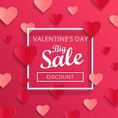 Valentines day big sale background.