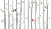 Valentine's Day Birch Tree or Aspen Silhouettes with Lovebirds