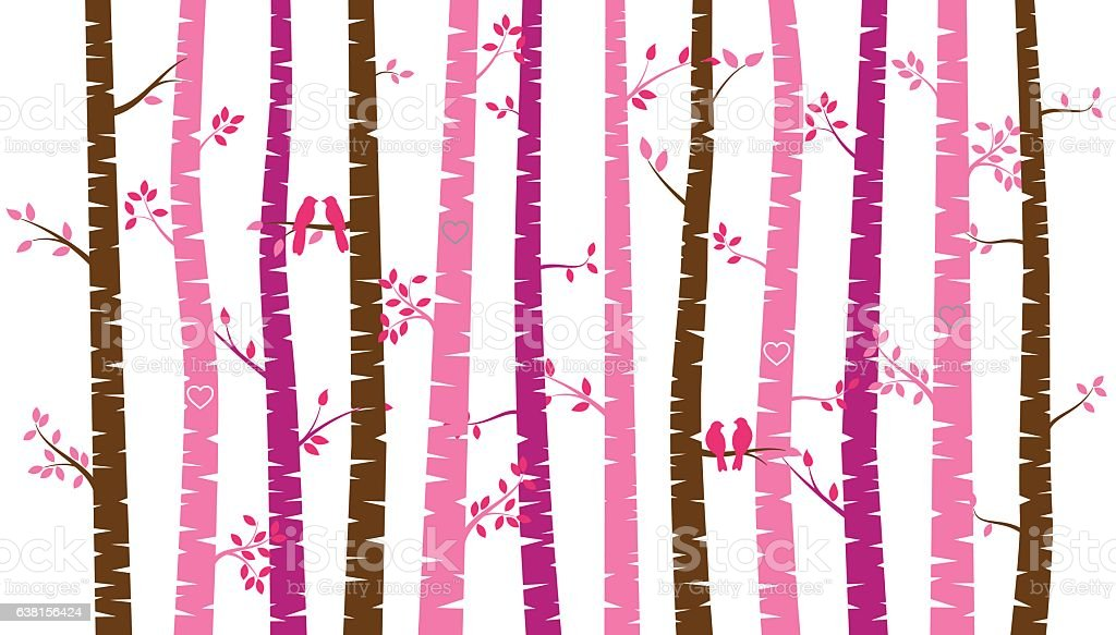 Valentine's Day Birch Tree or Aspen Silhouettes with Lovebirds vector art illustration