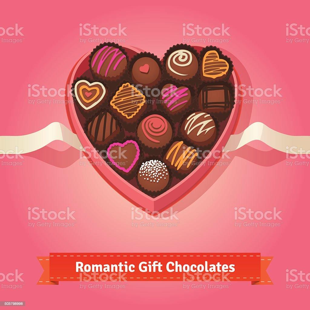 Valentine's day, birthday chocolates in box vector art illustration