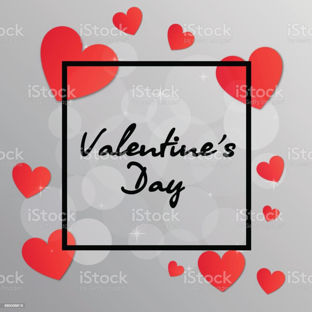 Valentines Day Black Frame With Hearts Stockvectorkunst En Meer