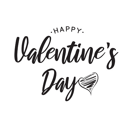 Valentine's Day black lettering on white background with heart. Vector