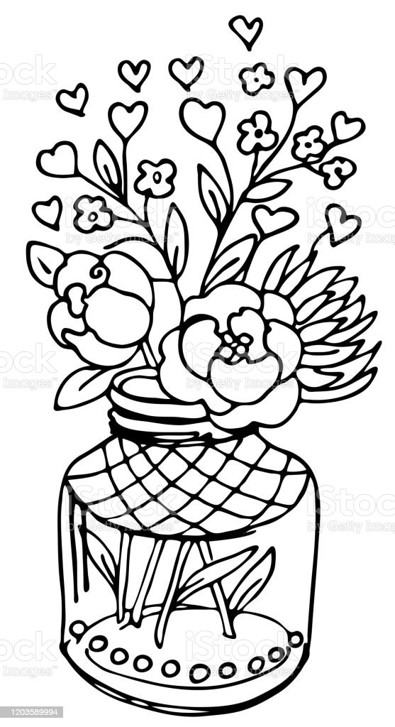 Valentines Day Bouquet Coloring Pages Hearts Flowers Gift Card Vector Illustration For Your Design Handdraw Sketch Eps 8 Stock Illustration Download Image Now Istock