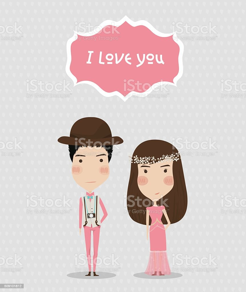 Valentines Day Boy And Girl Love Cards Wedding Card stock vector – Girl Valentine Cards
