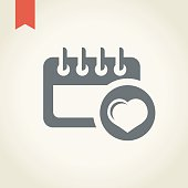Valentine's Day calendar icon,vector illustration.