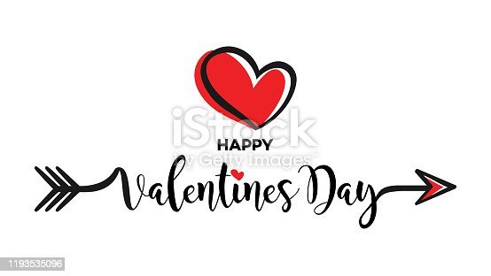 istock Valentines Day Calligraphy Banner with Heart 1193535096