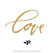 LOVE. Valentines day calligraphy gold glitter card.