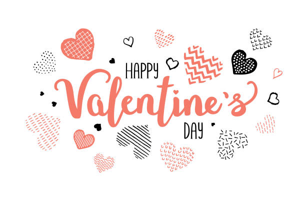 valentines day calligraphy greeting - valentine card stock illustrations