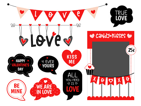 Valentines day candy and kisses photo booth props