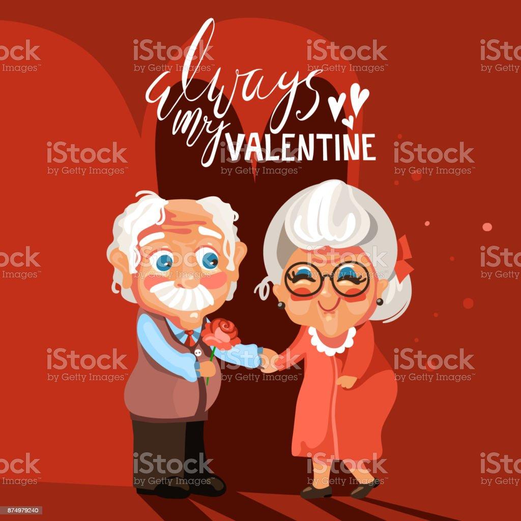 Carte De Saint Valentin Couple De Personnes Agees Dessin Anime