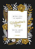 Valentine's Day Card design with flowers frame - Illustration