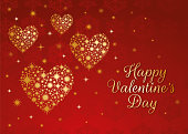 Valentine's Day Card design with golden hearts - Illustration