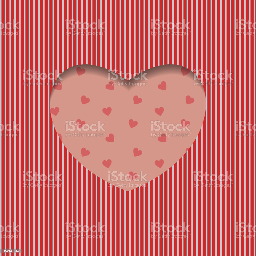 Valentines Day Card Geometric Red Heart Pattern Creative