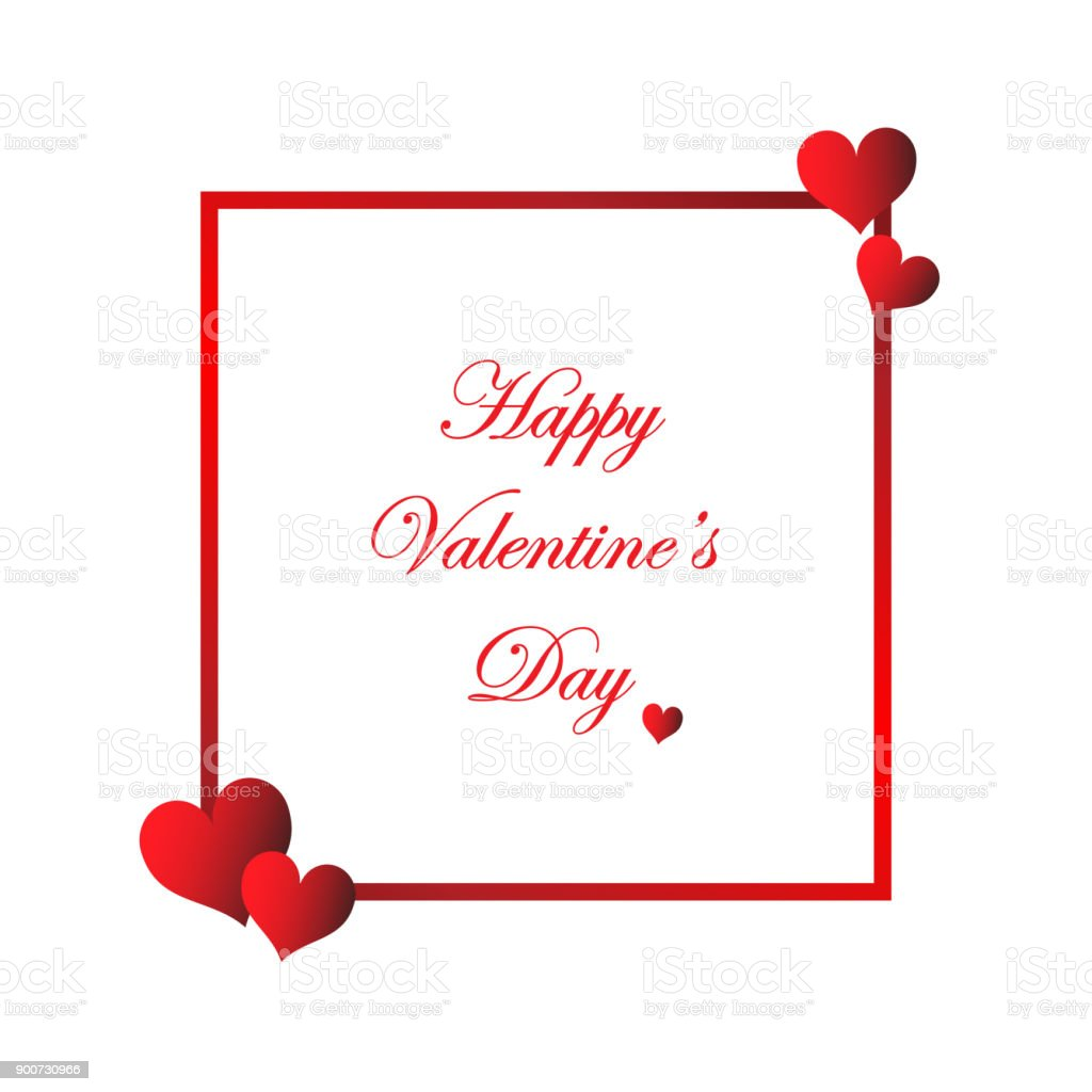 Valentines Day Card Hearts With White Background With Text Banner