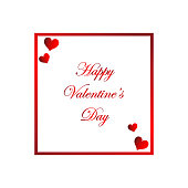 Vector Valentine's Day Card Hearts With White Background With Text Banner