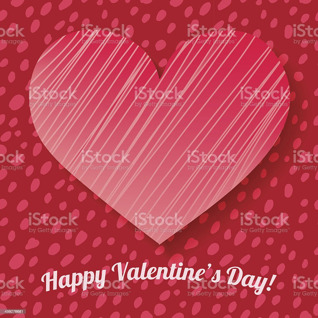 Valentine's day card on hand drawn dots background royalty-free stock vector art