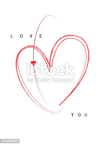 valentine's day card red heart isolated on a white background, vertical