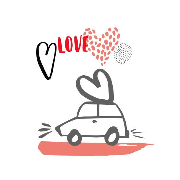 Valentine's Day card. Valentine's Day card.  Vector sketch  illustration. car love stock illustrations