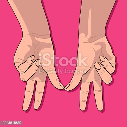 Valentine's day card with female hands showing a couple of lovers isolated on pink background. Woman hand with fingers simulating couple in love.